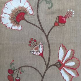 Clementine - Tobacco - Gray linen and poly fabric with a large red flower
