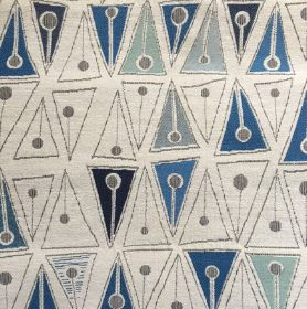 Cleo Weave - Blue - Cotton, silk, viscose and flax intervowen in white fabric with triangular figures