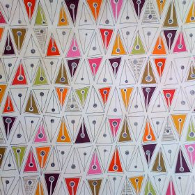 Cleo Weave - Multi - Metronome print patterned blended fabric with triangules and circles in white and bright colours such as orange and pin