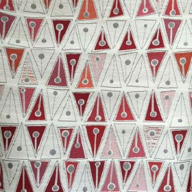 Cleo Weave - Red - Geometric shapes in warm colors on fabric made out of cotton, slik, viscose, and flax