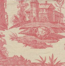 Albertine - Red - Detailed drawings of wooden houses and outdoor scenes printed in dusky red on very pale grey coloured 100% linen fabric