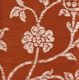 Amy - Cream Cinnamon - Patchily printed flowers, stems and leaves against a burnt orange coloured 100% linen fabric background
