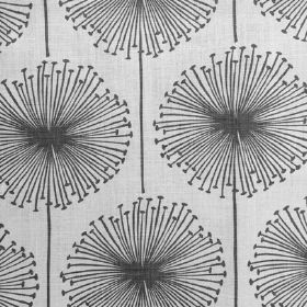 Dandelion Puff - Grey - Linen, cotton, polymide fabric with large gray dandelion image