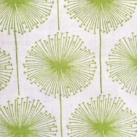Dandelion Puff - Lime - Large dandelion in lime on fabric made of linen, cotton, polymide
