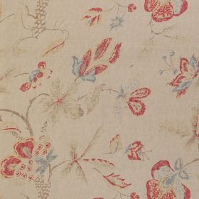 Fleurs de Provence - Red Blue - Pastel pink, blue, green and cream coloured 100% linen fabric with a delicate, vintage inspired floral desig