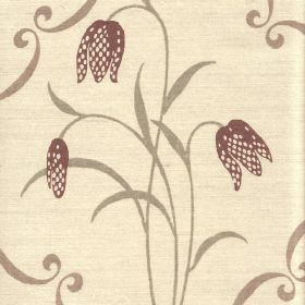 Fritillary - Blue Cream - Dotted dusky purple tulips with elegant, curving light grey leaves on linen-cotton blend fabric in a warm cream co