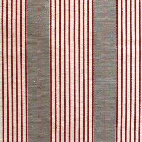 Harcourt Stripe - Red - Wide light grey stripes alternating with thin red and white lines on fabric made from a mixture of linen and silk