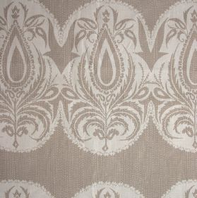 Indian Jewel - Cream Biscuit - 100% linen fabric in two light shades of grey, printed with a repeated patterned, leafy oval shaped design
