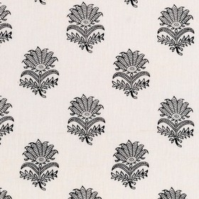 Anna - Black - Individual blue-grey coloured flowers with leaves and spiked petals arranged in rows on white 100% linen fabric
