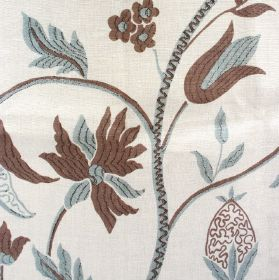 Isabella - Blue Taupe - Stylish pale blue and chocolate brown coloured flowers, leaves and vines embroidered on white fabric made from linen and n