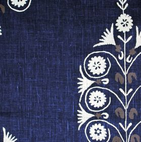 Jaisalmer - Cream Denim - Rich Royal blue coloured 100% linen fabric with a repeated simple, stylised flower and tree pattern in white and light