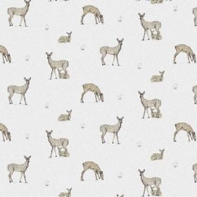 The Bambi - Natural - Groups of grey-brown deer set against a background of bright white bleached linen fabric