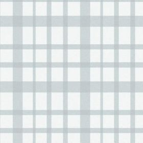 The Check - Powder - A checked pattern in pale blue on a bleached linen fabric background in bright white