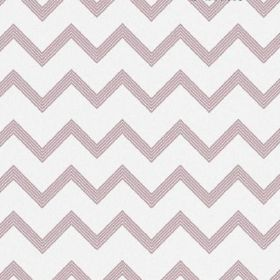 The Chevron - Blush - Regular zigag stripes in light pink-purple on a white fabric background made from bleached linen