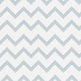 The Chevron - Powder - Alternating grey and white zigzags running horizontally across bleached linen fabric