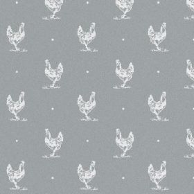 The Chicken - Ash - A design of white hens and small dots against a steel grey coloured bleached linen fabric background