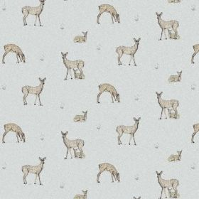 The Bambi - Pistachio - Pale blue bleached linen fabric with a pattern of grey-brown deer arranged in pairs or on their own