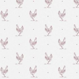 The Chicken - Blush - White and light pink-purple coloured bleached linen fabric with a repeated pattern of hens and dots