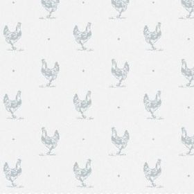 The Chicken - Powder - A background of bright white bleached linen fabric behind a grey pattern featuring neatly arranged hens and dots