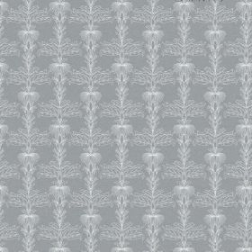 The Fleur - Ash - A detailed, intricate white pattern repeated over steel grey coloured bleached linen fabric