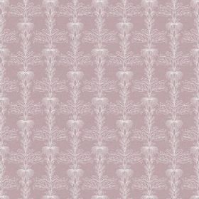 The Fleur - Blush - Light dusky pink coloured bleached linen fabric set behind a detailed, intricate, repeated pattern in white