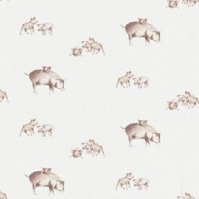 The Piglets - Natural - Shaded brown pigs and piglets on a plain white bleached linen fabric background