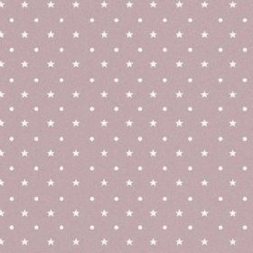 The Spots and Stars - Blush - Bleached linen fabric in a light, dusky shade of pink-purple, covered with alternating rows of white stars and d