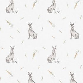 The Hare - Natural - Fabric made from white bleached linen featuring a pattern of scattered carrots and shaded brown hares