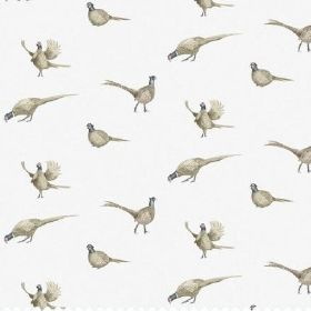 The Pheasant - Natural - Pheasant print bleached linen fabric in white, featuring some cream-beige