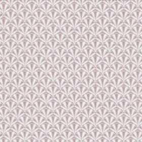 The Bowdelle - Blush - Purple-grey and white coloured bleached linen fabric with a small, repeated art deco style pattern