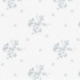 The Rose - Powder - White bleached linen fabric patterned with a subtle floral design in light grey