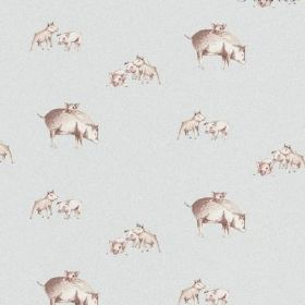 The Piglets - Pistachio - Bleached linen in very pale grey, with a pattern of pigs and piglets which are shaded in brown and white