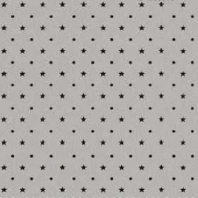 The Spots and Stars - Night - Small black stars and dots arranged in neat, alternating rows over natural linen fabric in an iron grey colour