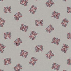The Flag - Red White and Blue - Dusky Union Jack flags scattered over light grey coloured fabric made from natural linen