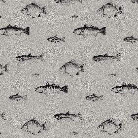 The Freshwater Fish - Night - Grey and white 'white noise' effect natural linen fabric, covered with black shaded images of different breeds