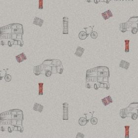 The - City - London themed natural linen fabric in light grey, with buses, taxis, bicycles, telephone boxes, and flags and postboxes