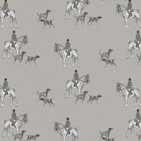 The Hunt - Graphite - Fabric made from natural linen with a hunting theme including horses, people and dogs in various shades of grey & whit