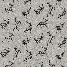 The Stag - Night - Black shaded stags in various poses against a grey and white natural linen fabric background with a 'white noise' effect