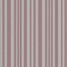 The Stripe - Berry Red - Striped natural linen fabric with a regular pattern in dusky pink and light grey