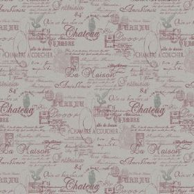 The Calligraphy - Berry Red - Dusky pink-purple French text arranged with some grey designs on natural linen fabric in a lighter shade of gr