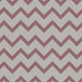 The Chevron - Berry Red - Fabric made from natural linen in dusky pink and light grey, with a regular horizontal zigzag pattern