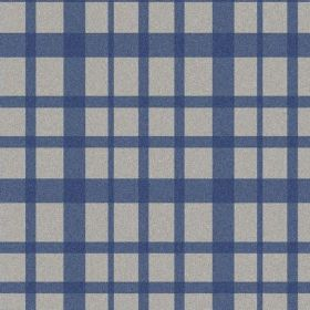 The Check - Liberty - Navy blue and light grey coloured natural linen fabric with a simple checked design