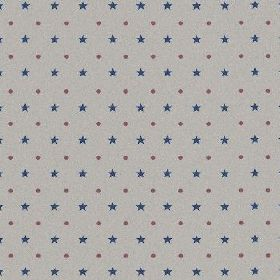 The Spots and Stars - Multi - Pinkish grey dots and navy blue stars lined up in alternating rows over natural linen fabric in dove grey