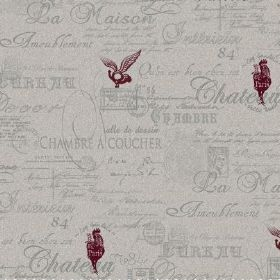 The Calligraphy - Ash - Burgundy coloured birds and French writing in grey covering fabric made from natural linen in a paler shade of grey