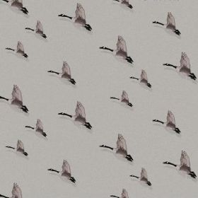 The - Flight - Rows of flying black and grey geese over a smoky grey coloured natural linen fabric background