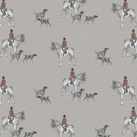 The Hunt - Jacket Red - People wearing dusky red coats on white horses with grey shaded dogs on a background of light grey natural linen fab