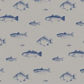The Freshwater Fish - Liberty - Fish shaded in navy blue laid out in rows overdove grey coloured fabric made from natural linen