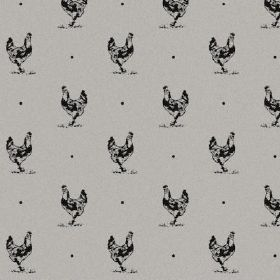 The Chicken - Night - Black and grey hen and dot print fabric made from natural linen