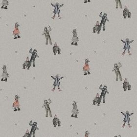 The Snowball - Fight - Fabric made from natural linen in smoky grey, with pictures of children in dark grey, dusky blue and salmon pink