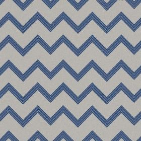 The Chevron - Liberty - Zigzag patterned natural linen fabric in dove grey and navy blue